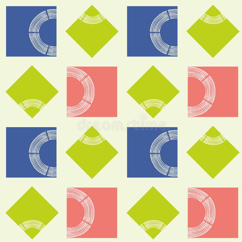 Modern abstract lime, coral and blue squares with brush semi circle texture. Seamless geometric vector pattern on light stock illustration
