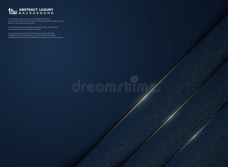 Modern abstract of luxury gradient blue template with golden glitters decoration background. illustration vector eps10. Modern abstract of luxury gradient blue vector illustration