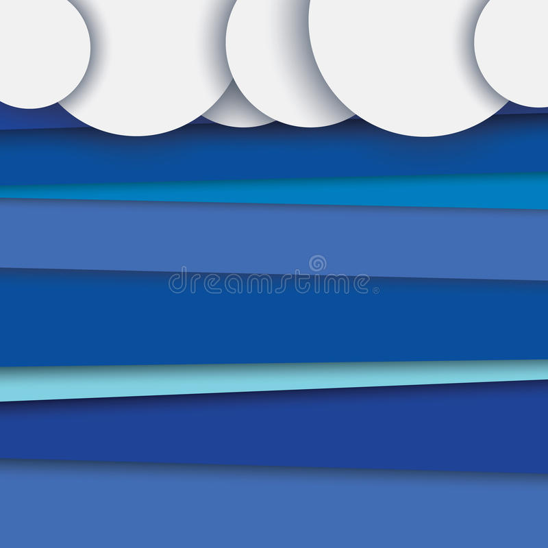 Modern abstract material design vector background with layers. Clouds on top, blue sky in backdrop. royalty free illustration