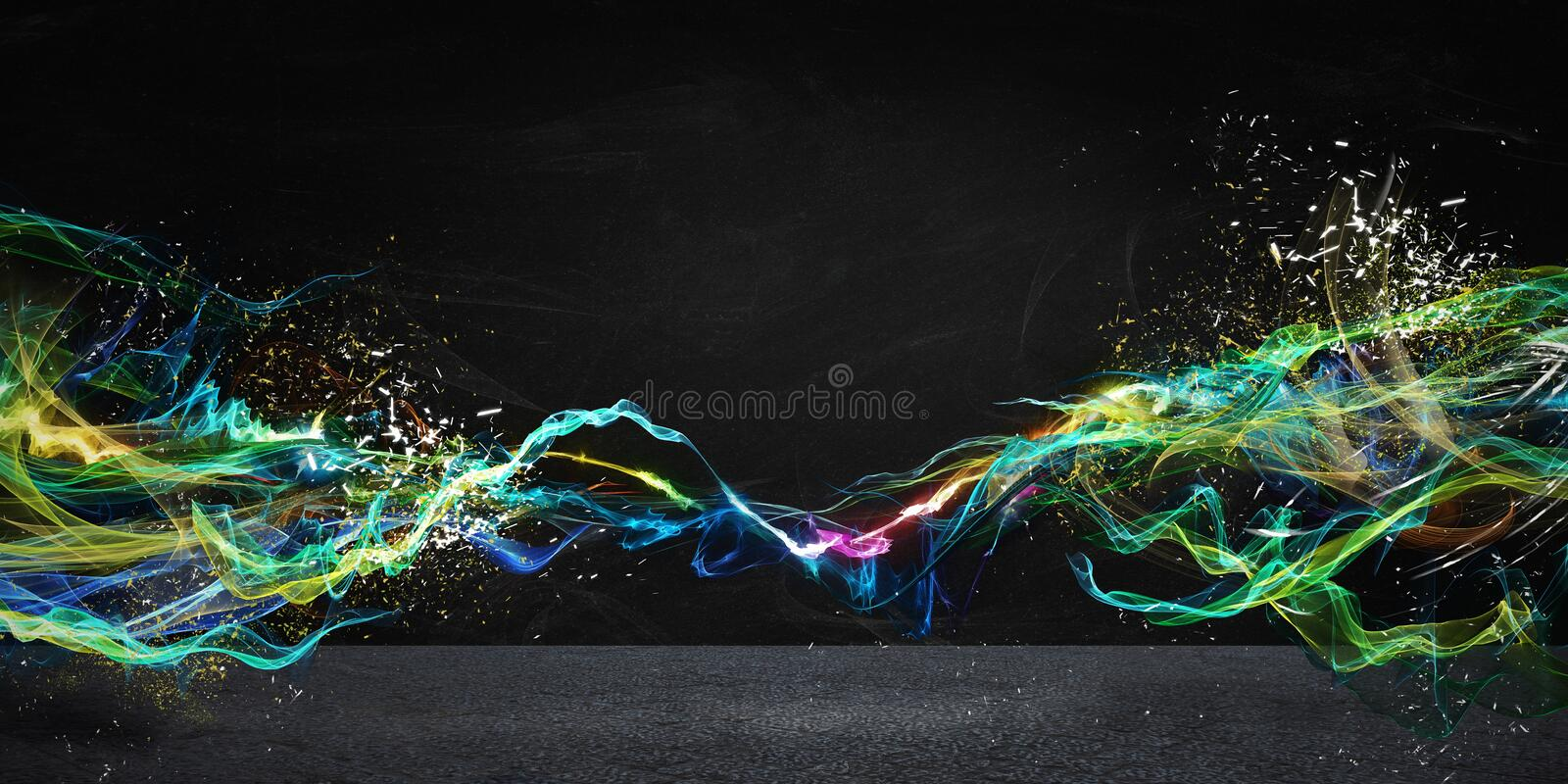 Modern abstract motion banner. On dark background stock photo