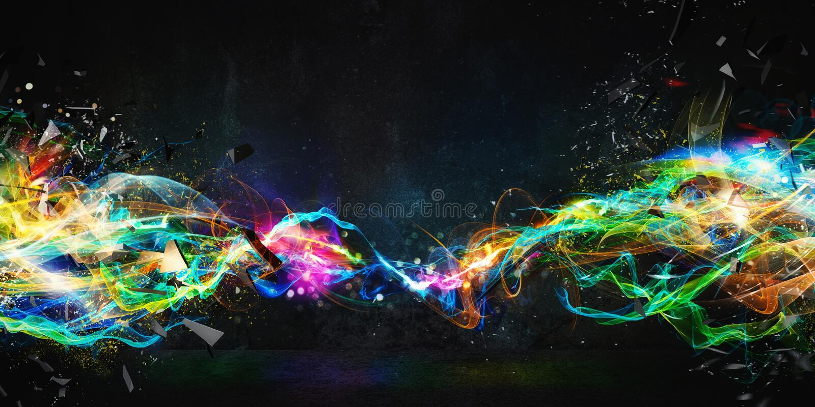Modern abstract motion banner on dark background. Modern abstract colourful light motion banner on dark background