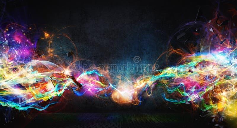 Modern abstract motion banner on dark background. Modern abstract colourful light motion banner on dark background royalty free stock image