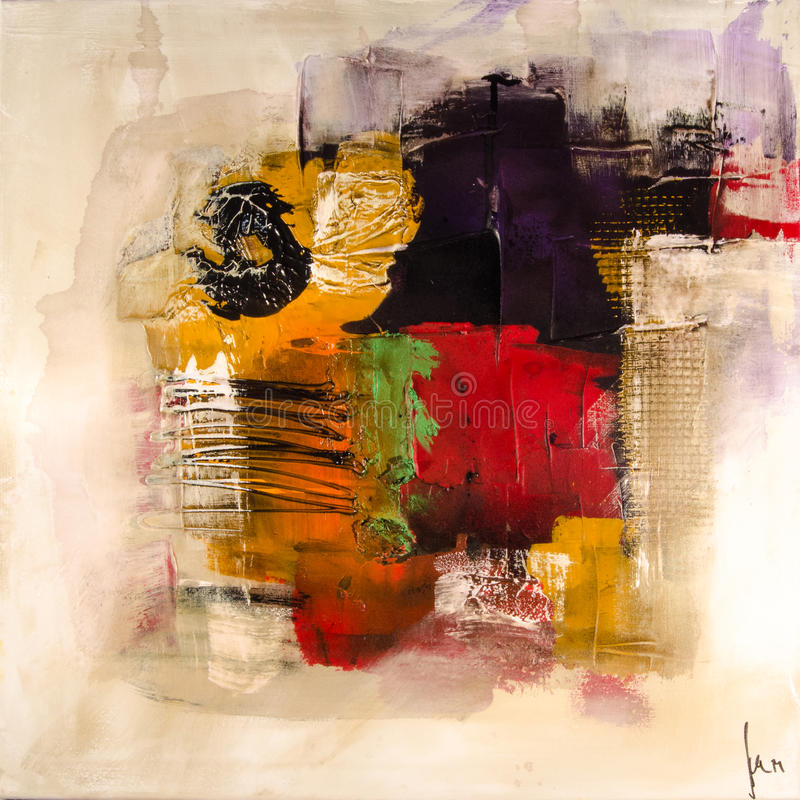 Free Modern Abstract Painting Fine Art Artprint Royalty Free Stock Photos - 46317328