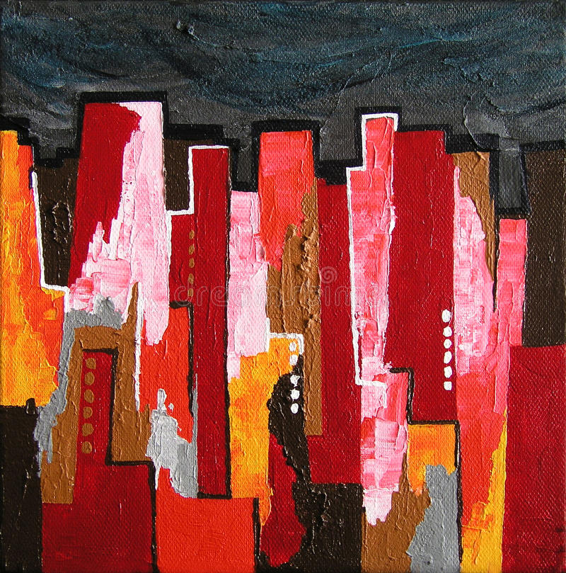 Modern Abstract Painting / Skyline by Night royalty free illustration