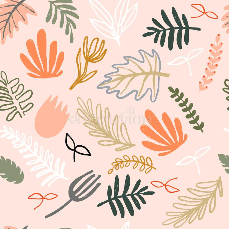 Modern abstract pattern collection. Minimalist trendy floral elements. Hero pattern with pastel naive plants. Digital stock illustration