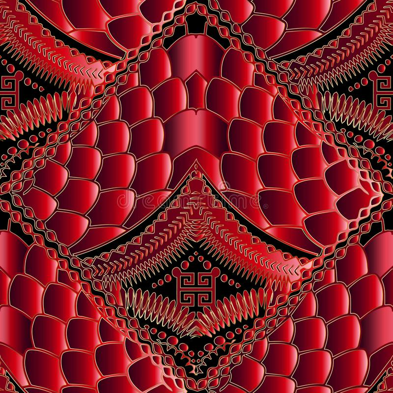 Free Modern Abstract Red 3d Seamless Pattern. Greek Geometric Texture Stock Photo - 117098690
