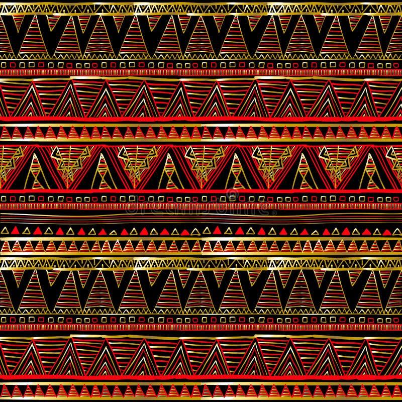 Modern abstract rood en zwart geometrisch vector naadloos patroonbehang als achtergrond met uitstekende gouden 3d Griekse sleutel royalty-vrije illustratie