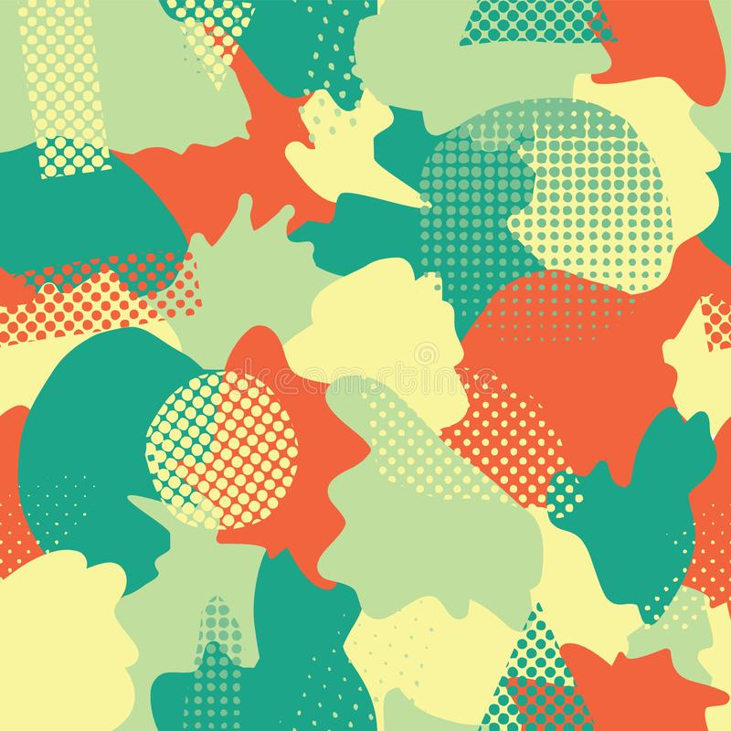 Modern abstract shapes seamless vector background. Turquoise, teal, green, yellow, and orange camouflage shapes layered. Doodle. Background. Graphic stock illustration
