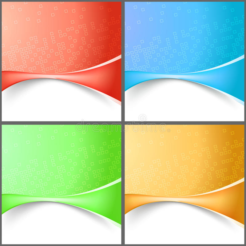 Modern abstract wave tech backgrounds collection. Clip-art royalty free illustration