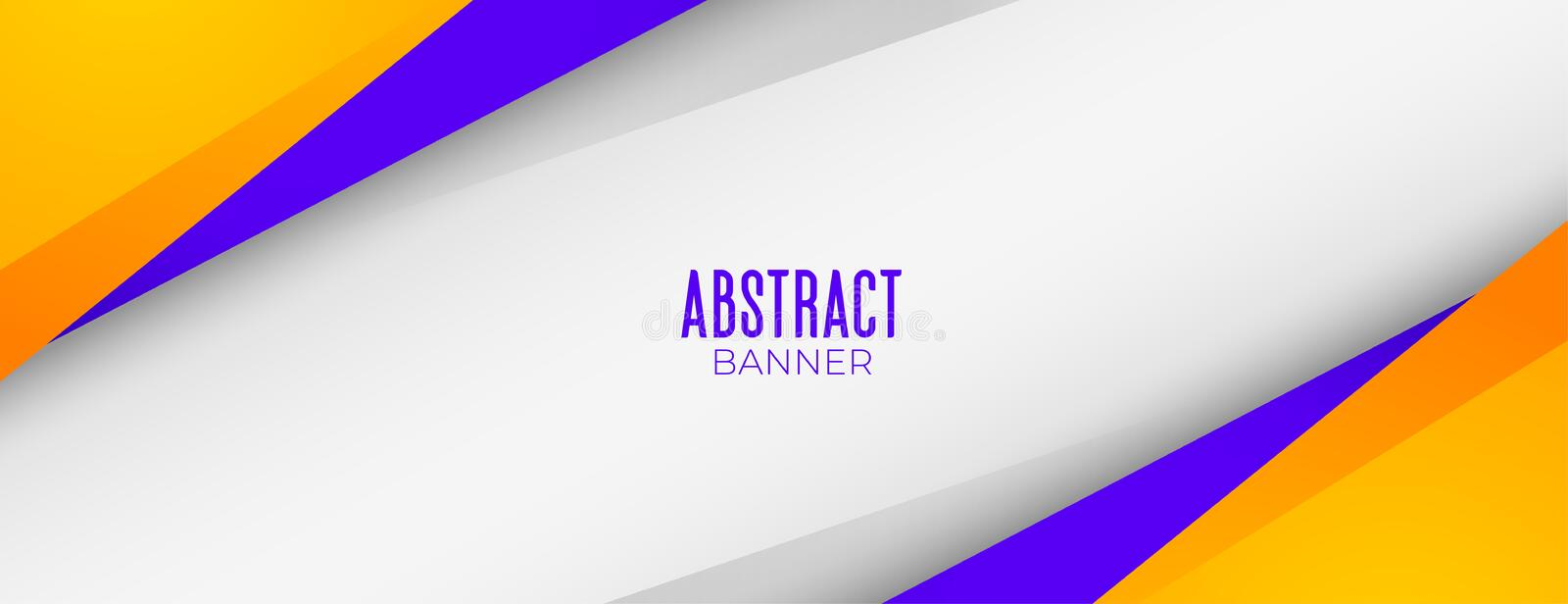 Modern abstract yellow and purple geometric banner design stock illustration