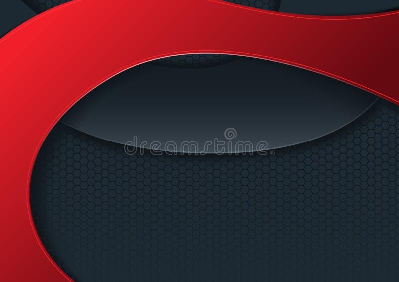 Modern abstrakt bakgrund med det röda och svarta bandet stock illustrationer