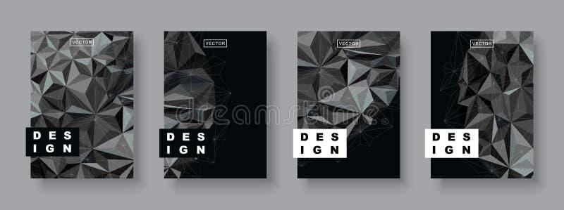 Modern abstrakt begreppräkningsuppsättning Futuristic design Kosmisk mall för kallt lutningkort Polygonal halvton vektor illustrationer