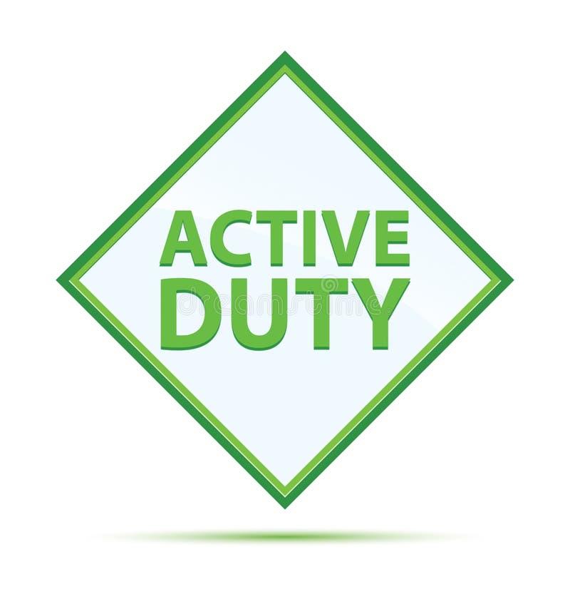 Modern abstrakt grön diamantknapp för aktiv arbetsuppgift stock illustrationer