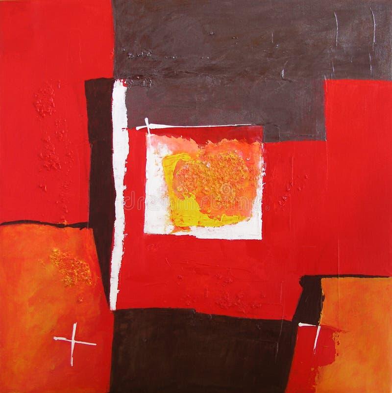 Modern abstrakt konst - målning - röda geometriska fyrkanter - och svarta färger royaltyfri illustrationer