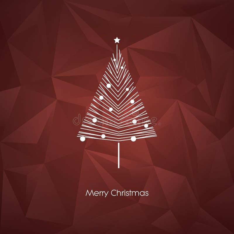 Modern abstrakt mall för kort för vektor för julträd med linjen symbol för konstxmas-ferie på låg poly bakgrund royaltyfri illustrationer