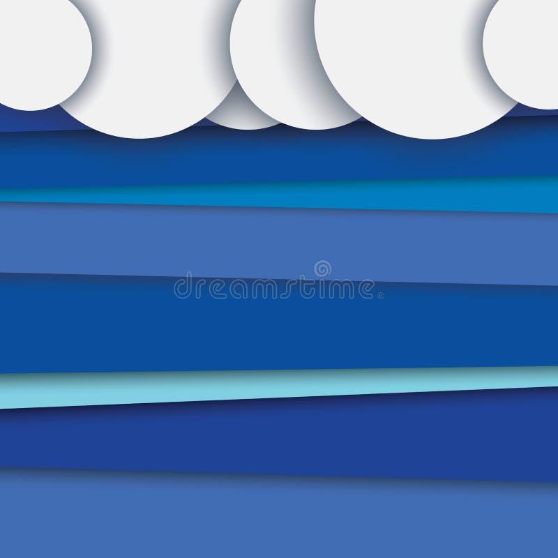 Modern abstrakt materiell designvektorbakgrund med lager Moln överst, blå himmel i bakgrund royaltyfri illustrationer