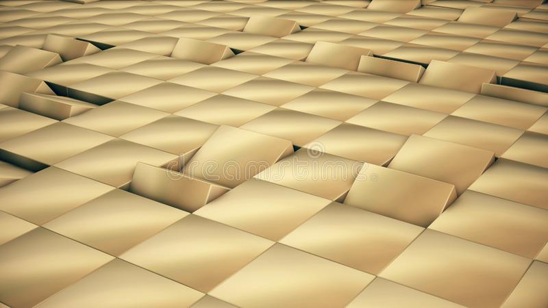 Modern abstrakt metallrasteryttersida roterar vågen av ljusa guld- kuber royaltyfri illustrationer