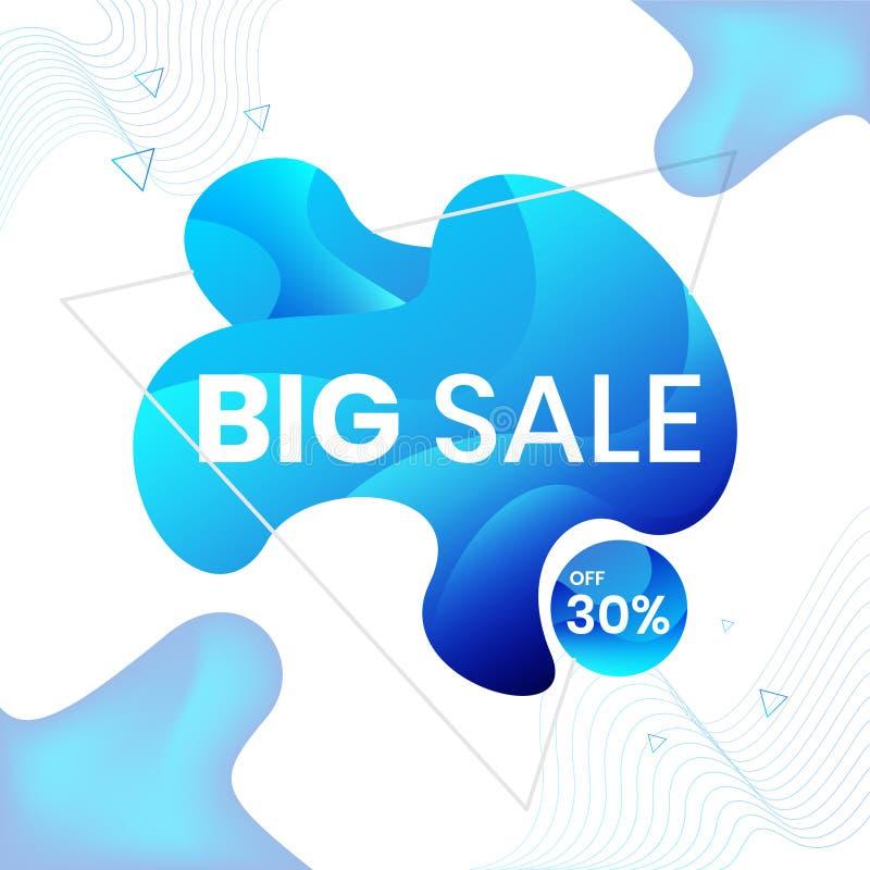 Modern abstrakt vektorbanderoll BIG FÖRSÄLJNING 30 % AV, fast geometrisk vätska Modern vektormall, mall för design av en stock illustrationer