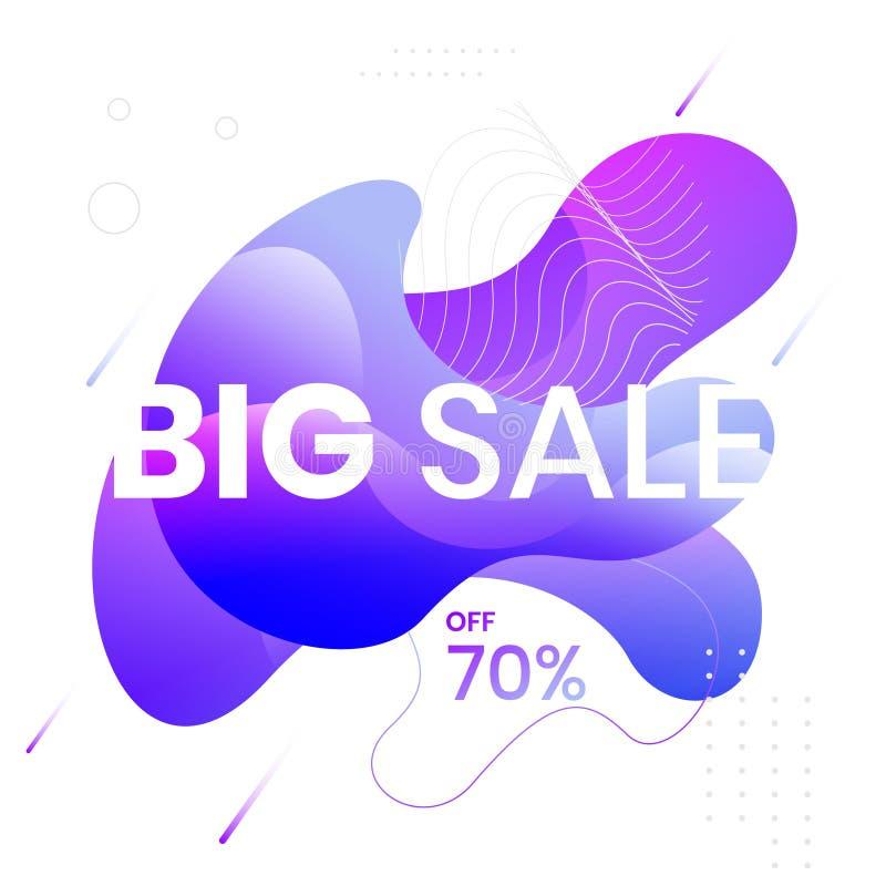 Modern abstrakt vektorbanderoll BIG FÖRSÄLJNING 70 % AV, fast geometrisk vätska Modern vektormall, mall för design av en royaltyfri illustrationer