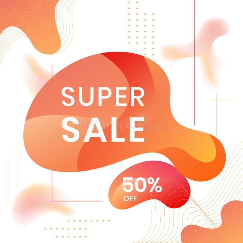 Modern abstrakt vektorbanderoll SUPER FÖRSÄLJNING 50 % AV, fast geometrisk vätska Modern vektormall, mall för design av en vektor illustrationer