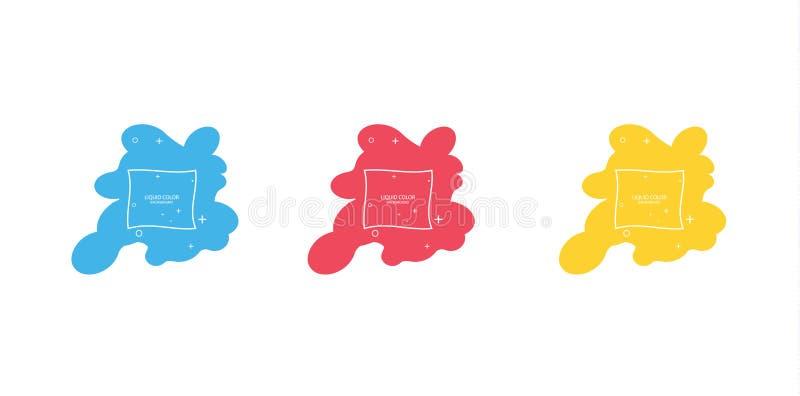 Modern abstrakt vektorbanerupps?ttning Plan geometrisk v?tskeform med olika f?rger Modern vektormall, mall f?r royaltyfri illustrationer