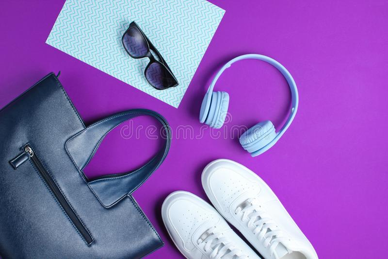 Modern accessories on a creative color background royalty free stock images