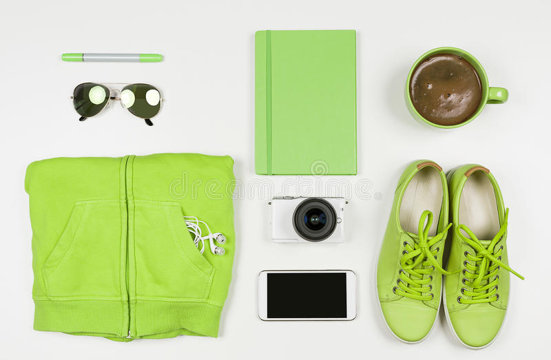 Modern Accessories Flat Lay. Greenery Color 2017 royalty free stock photography