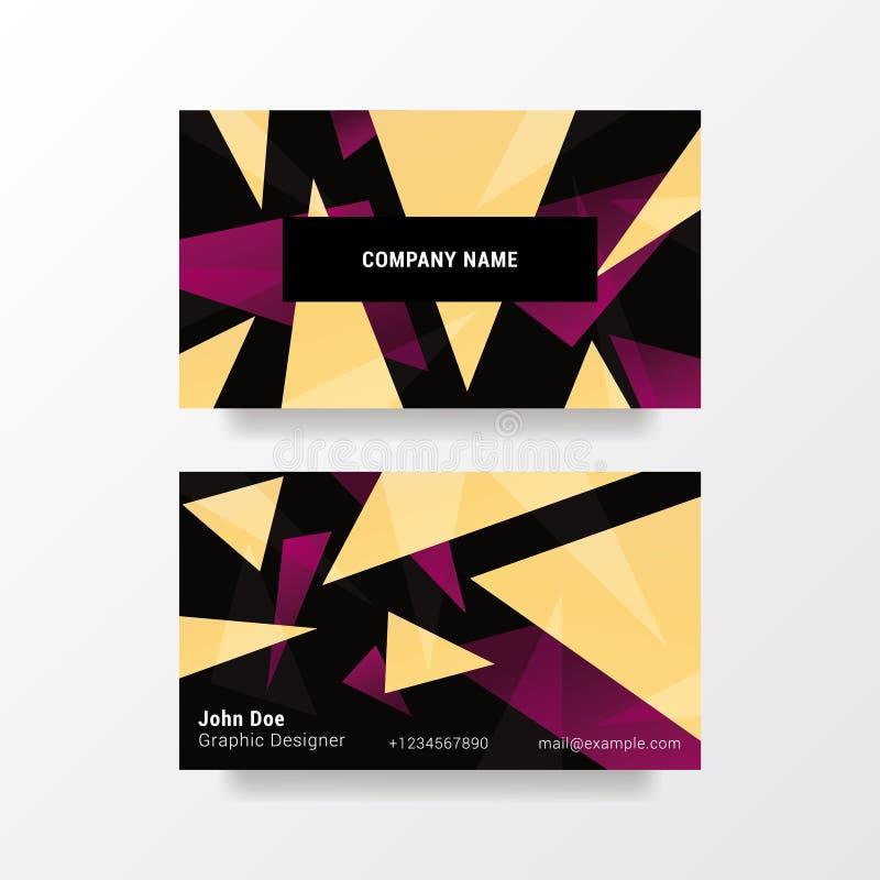 Modern Adreskaartjemalplaatje 3 5x2 Abstract Vectorontwerp met driehoeken royalty-vrije illustratie