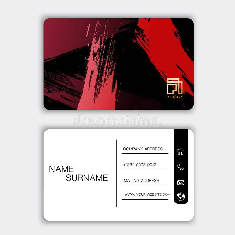 Modern adreskaartjeontwerp Met inspiratie van samenvatting Rode kleur op grijze achtergrond stock illustratie