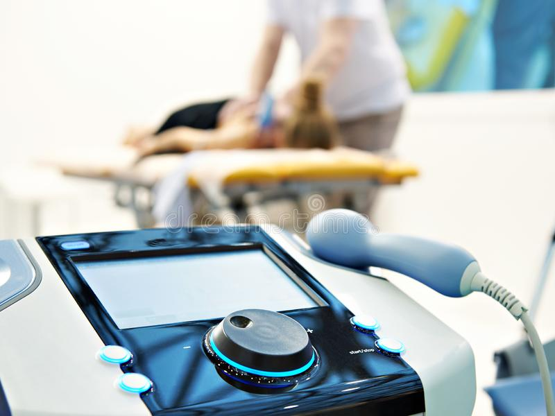 Advanced electronic physiotherapy system stock photo