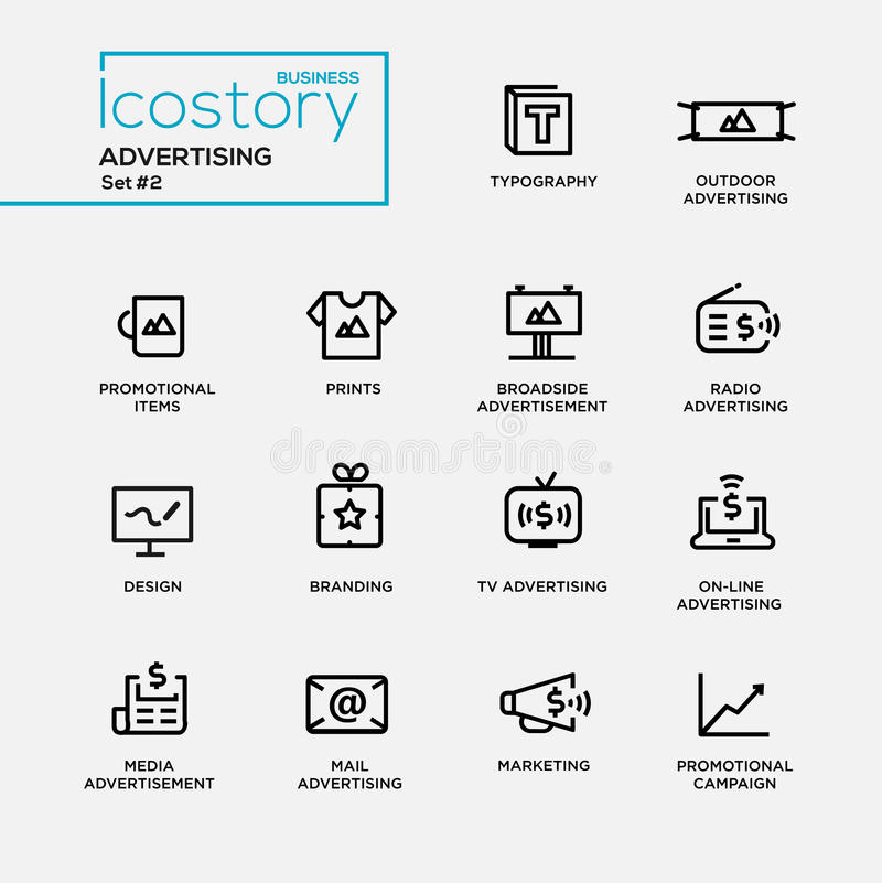 Modern advertising simple thin line design icons, pictograms set. Set of modern vector advertising plain simple thin line design icons and pictograms. Collection royalty free illustration