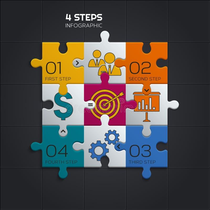 Modern affär som är infographic för din presentation fyra stycken pussel vektor royaltyfri illustrationer