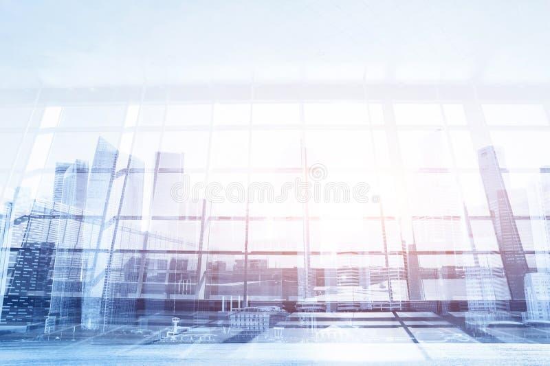 Modern affärsbakgrund, glasvägg i kontoret eller flygplats royaltyfri foto
