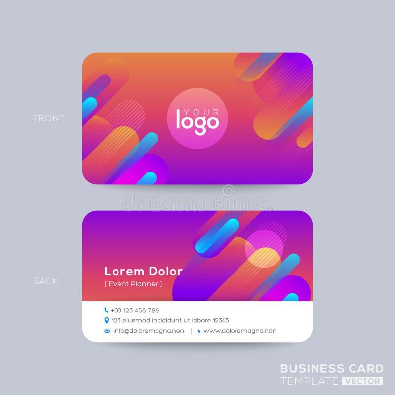 Modern affärskortdesign med vibrerande djärv bakgrund för färgdiagram royaltyfri illustrationer