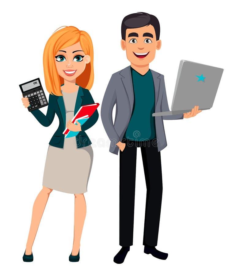 Modern affärsman och affärskvinna royaltyfri illustrationer