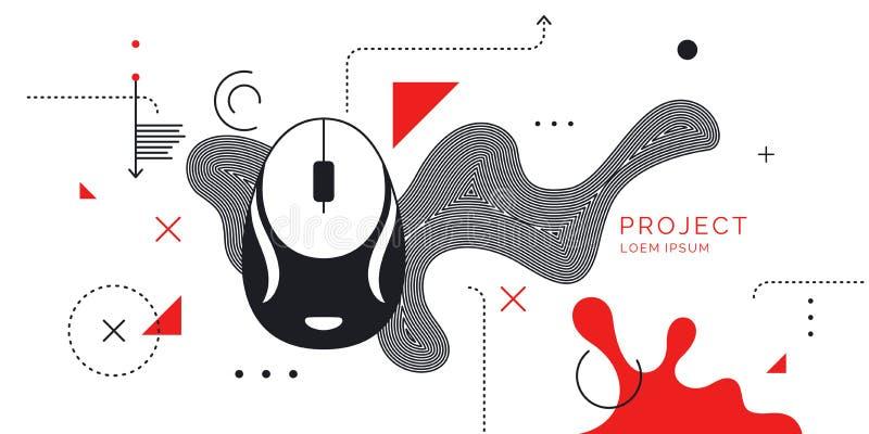 Modern affiche Digitaal art. Abstracte vormen en plonsen op witte achtergrond stock illustratie