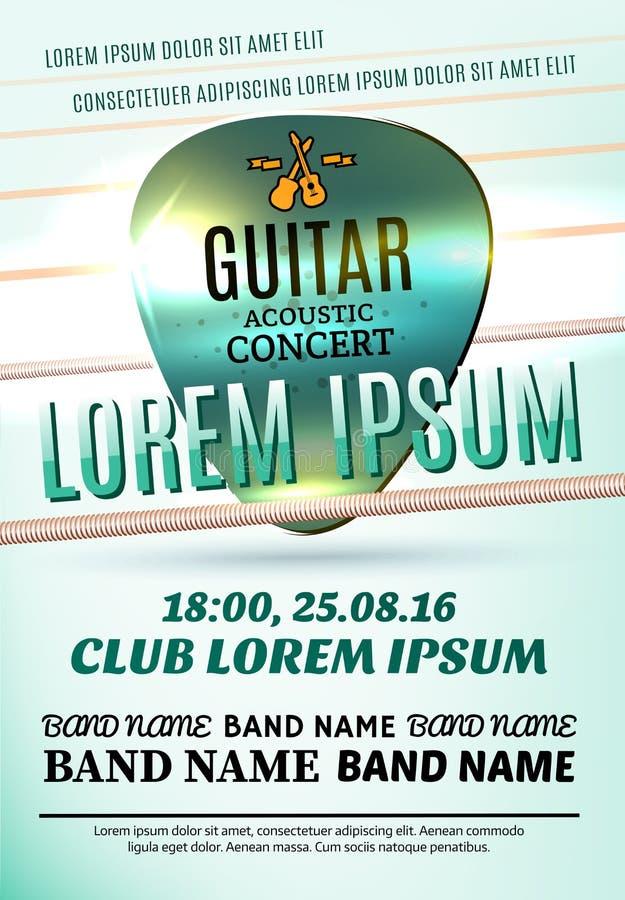 Modern affisch för en akustisk konsert för gitarr eller en vaggafestival royaltyfri illustrationer