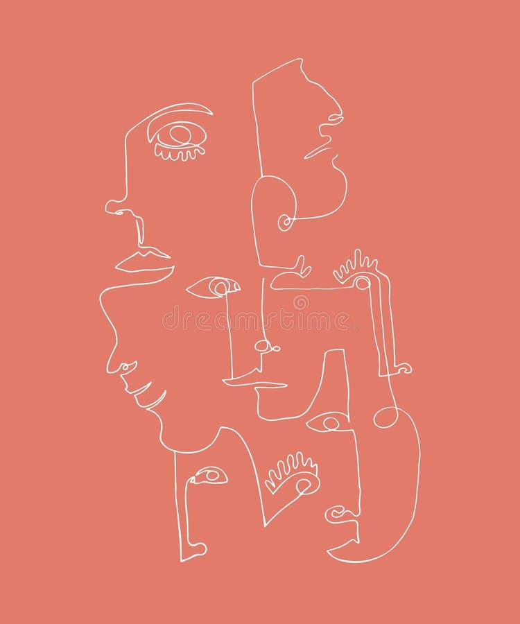 Modern affisch med linjära abstrakta framsidor Fortlöpande linje konst vektor illustrationer