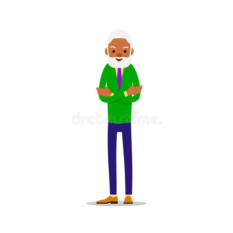Modern african old man. Older black senior retired. Happy grandfather standing and smiling. Traditional retirement lifestyle. Cartoon illustration isolated on stock illustration