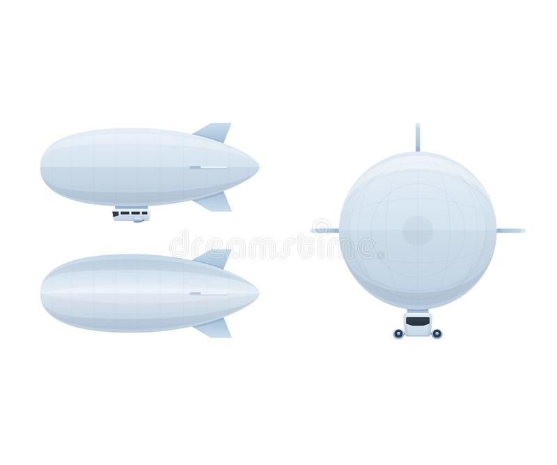 Modern air vehicles. Air balloon aerostat in different angles. Modern air vehicles. Air balloon aerostat in different angles side view, front, top. Transport royalty free illustration