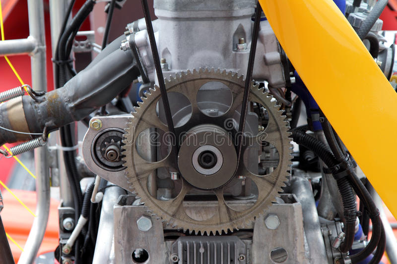 Modern airboat engine closeup. stock photo