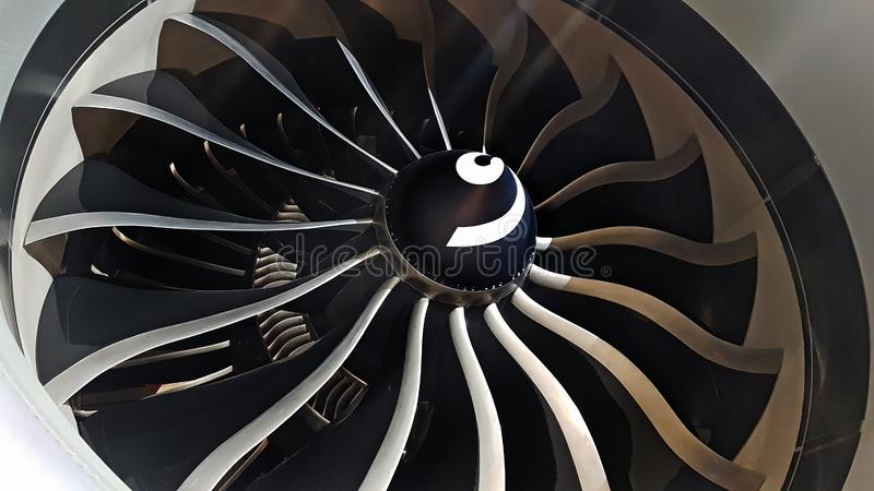 Modern airplane engine royalty free stock photography