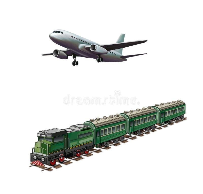 Modern airplane, Green passanger train stock illustration