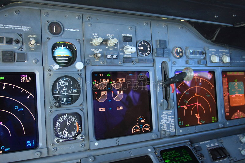 Modern airplane instrument royalty free stock photography