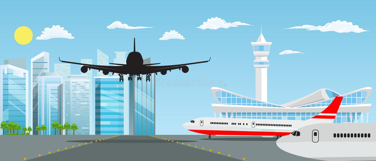 Airport building and planes with nice cityscape in background. Vector illustration. Modern Airport building and planes with nice cityscape in background. Vector royalty free illustration