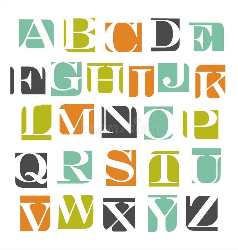 Modern alfabetaffischdesign stock illustrationer
