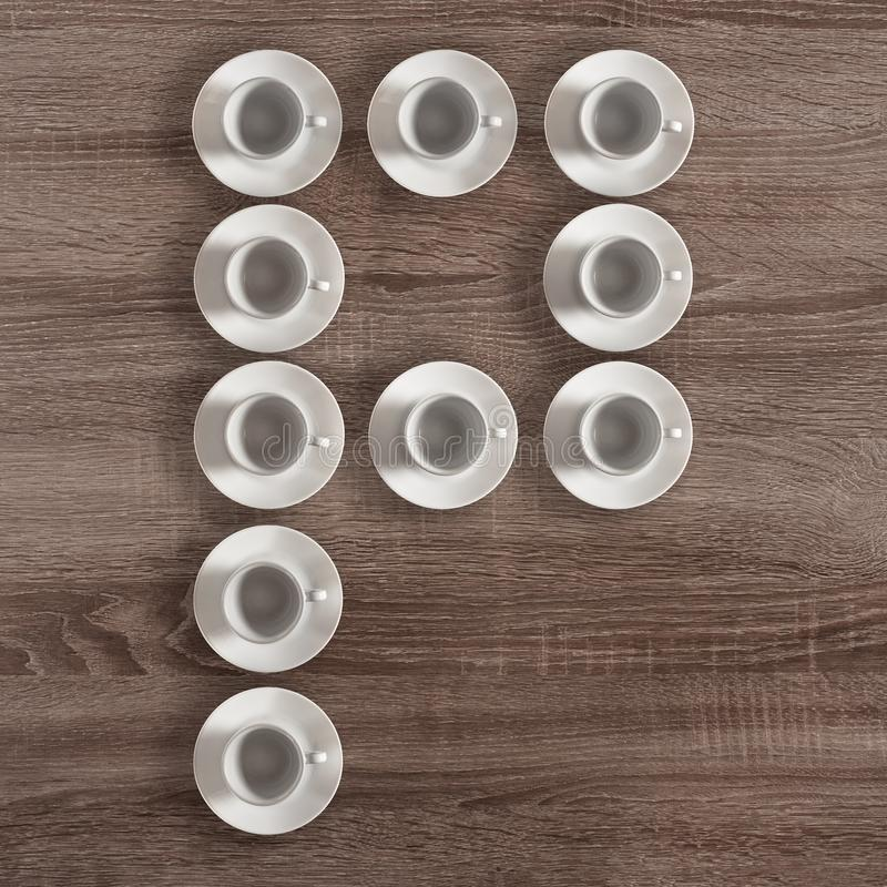 Modern alphabet of cups. Modern alphabet letter P made of white cups stock image