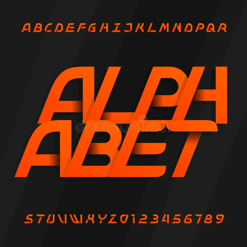 Modern alphabet vector font. Oblique type letters and numbers on a dark background. Vector typeface for your design royalty free illustration