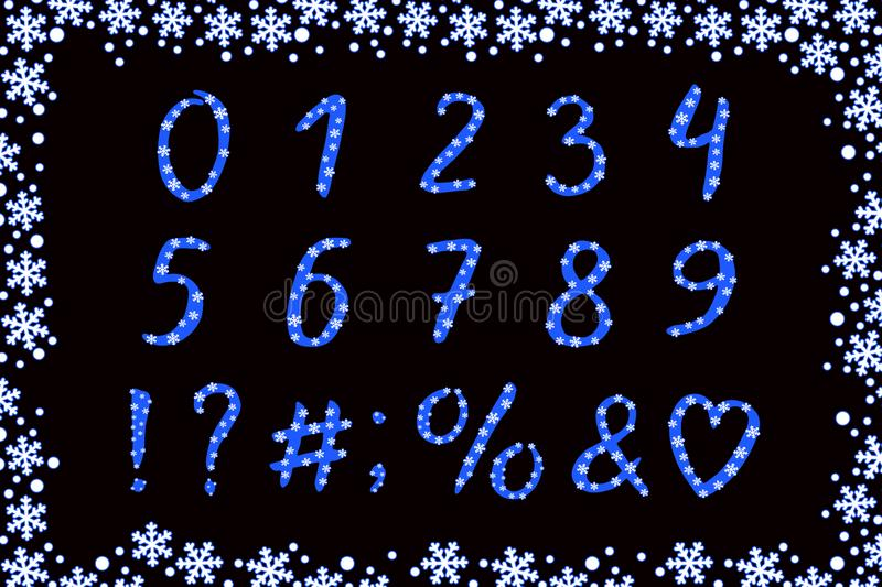Modern Alphabet winter design with snowflakes. Vector numbers and punctuation marks royalty free illustration