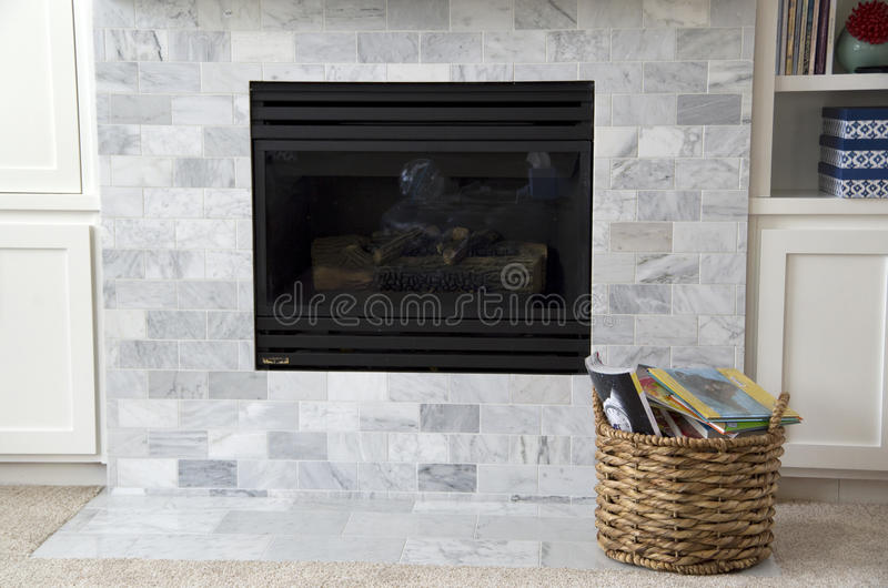 Modern American home fireplace stock photography